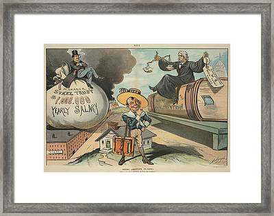 Young Americas Dilemmma. Cartoon Framed Print by Everett