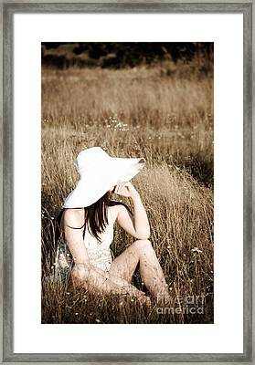 Young Beautiful Woman With Hat Framed Print by Iryna Shpulak