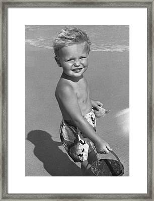 Young Boy At Beach Framed Print by George Marks