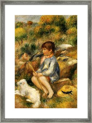 Young Boy By A Brook Framed Print by Pierre Auguste Renoir
