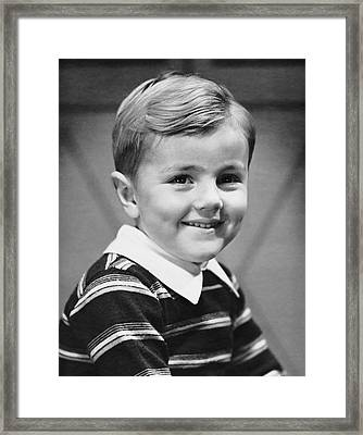 Young Boy Smiling Framed Print by George Marks
