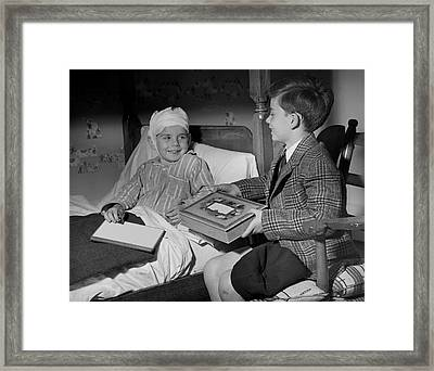 Young Boy Visiting Sick Friend Framed Print