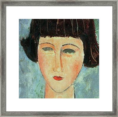 Young Brunette Framed Print by Modigliani