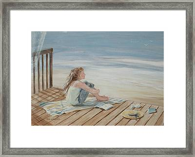 Young Christina By The Beach Framed Print by Tina Obrien