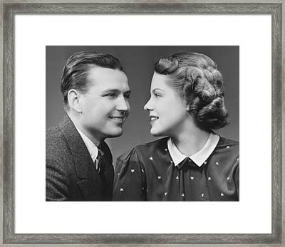 Young Couple Looking In Eyes In Studio, (b&w), Portrait Framed Print
