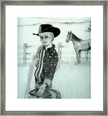 Young Cowboy Framed Print by Carolyn Ardolino