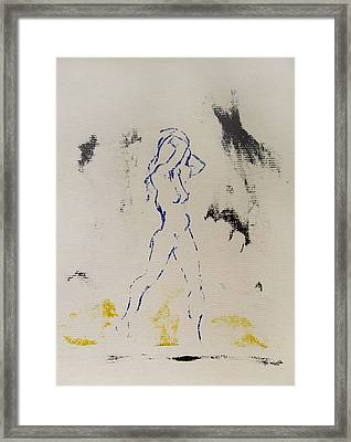 Framed Print featuring the painting Young Female Nude In Agony While Running From Her Thoughts In Blue Yellow Black Serigraph Monoprint by M Zimmerman