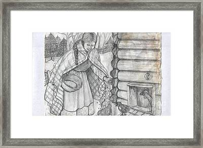Young Girl Feeding The Chickens In The 1800's Framed Print by Francine Heykoop