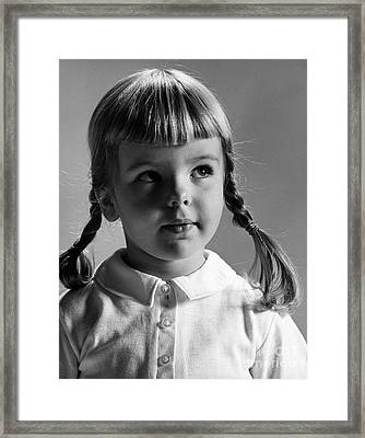 Young Girl Framed Print by Hans Namuth and Photo Researchers