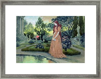 Young Girl In A Garden  Framed Print by Eugene Grasset