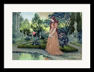 Girl In Pool Paintings Framed Prints