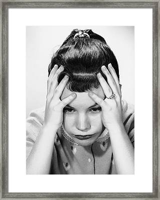 Young Girl In Deep Thought Framed Print by George Marks