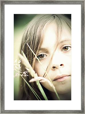 Young Girl In Field Of Grasses Framed Print