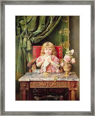 Young Girl With A Dove   Framed Print by Ignacio Leon y Escosura