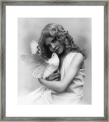 Young Girl With Bird C. 1870 Framed Print