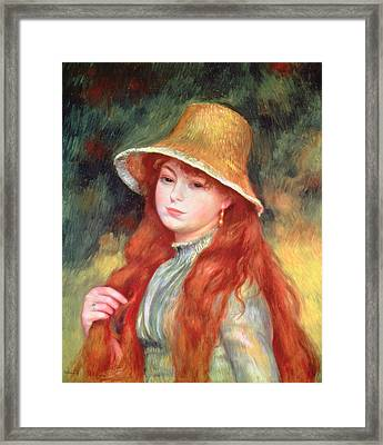 Young Girl With Long Hair Framed Print by Pierre Auguste Renoir