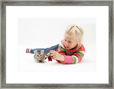 Young Girl With Silver Tabby Kitten Framed Print