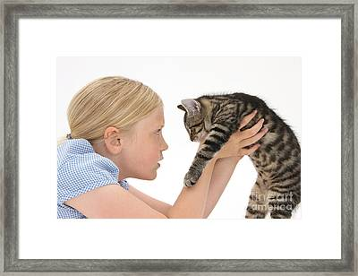Young Girl With Tabby Kitten Framed Print