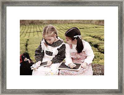Young Girls Doodling Framed Print by Gaspar Avila