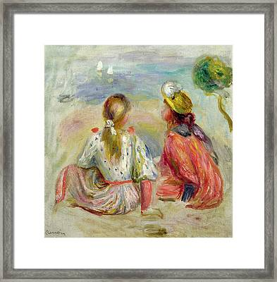Young Girls On The Beach Framed Print by Pierre Auguste Renoir