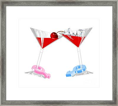 Young Happy Amorous Couple With Cocktail Framed Print by Rattanapon Muanpimthong
