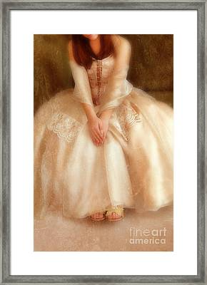 Young Lady Sitting In Satin Gown Framed Print by Jill Battaglia