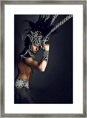 Young Man In Ritual Suit Of Pagan Priest. Framed Print