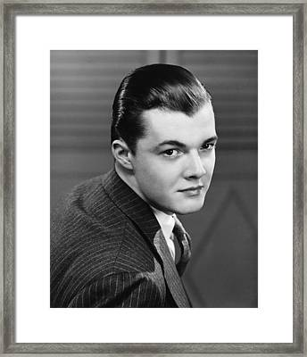 Young Man Wearing Pinstripe Jacket, (b&w), Portrait Framed Print by George Marks