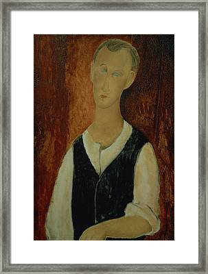 Young Man With A Black Waistcoat Framed Print by Amedeo Modigliani
