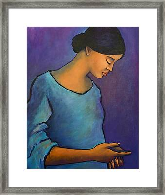 Young Mexican Girl In Blue Framed Print