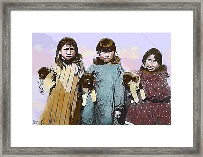 Framed Print featuring the mixed media Young Native American Eskimo by Charles Shoup