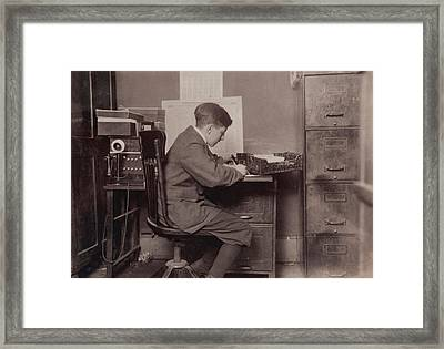 Young Office Boy, Working For J.j Framed Print by Everett