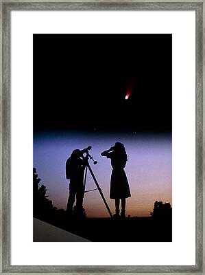 Young People Observe A Bright Comet Framed Print