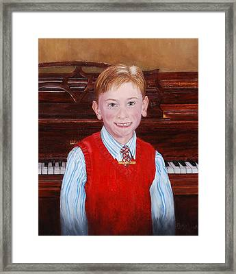 Young Piano Student Framed Print by Phyllis Barrett