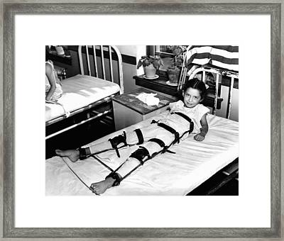 Young Polio Victim In Bed With A Body Framed Print by Everett