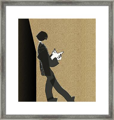Framed Print featuring the digital art Young Scholar by Asok Mukhopadhyay