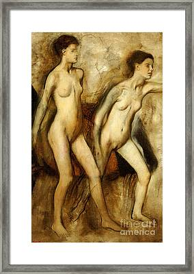 Young Spartan Girls Provoking The Boys Framed Print by Edgar Degas