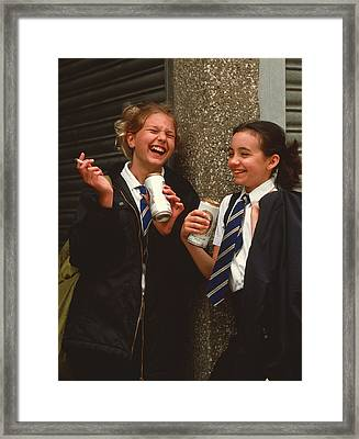 Young Teenage Girls Smoke And Drink Beer Outdoors Framed Print