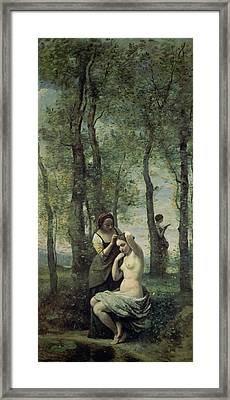 Young Woman At Her Toilet Framed Print by Jean Baptiste Camille Corot