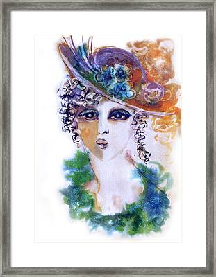 Young Woman Face With Curls In Blue Green Dress Purple Hat With Flower  Framed Print