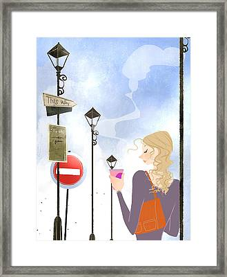 Young Woman Holding Takeaway Coffee Framed Print by Eastnine Inc.