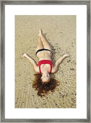 Young Woman On Sand Framed Print by Kicka Witte