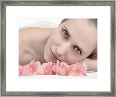 Young Woman With Flowers Framed Print by Iryna Shpulak