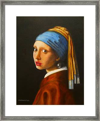 Young Woman With Pearl Earring Framed Print by Hugo Palomares