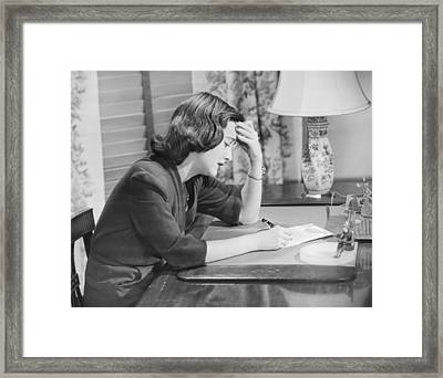 Young Woman Writing Letter At Desk, (b&w) Framed Print by George Marks