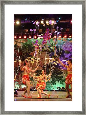 Young Women Acrobats Balance Plates Framed Print by Richard Nowitz