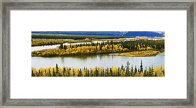Yukon River And Fall Colours Framed Print