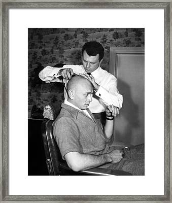Yul Brynner Getting Shaved By Makeup Framed Print by Everett