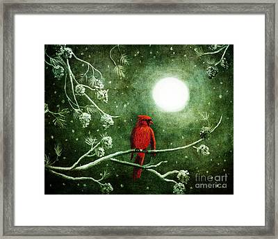 Yuletide Cardinal Framed Print by Laura Iverson
