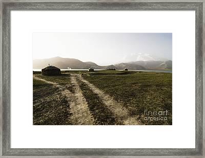 Yurts And A Dirt Road Framed Print by Sam Bloomberg-rissman